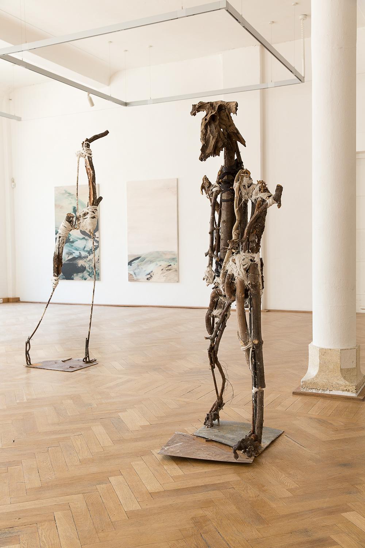 Minotaurus, 196cm x 67cm x 80cm, iron, plaster, wood, tetil, 2014, photo: Matthias Ritzmann.