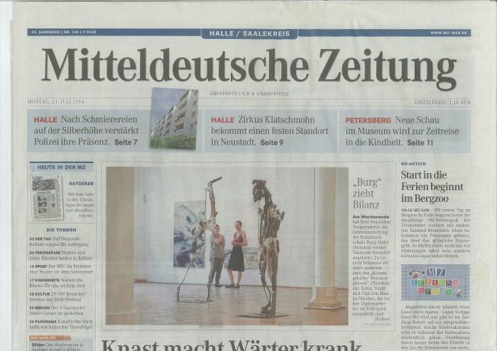 KörperGebilde, Metamorphoses, Bianka Mieskes, 2014. Mitteldeutsche ZeitungBianka